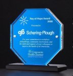 Octagon Series Acrylic Award Featuring a Blue Mirror Achievement Award Trophies