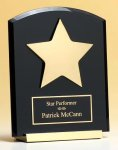 Desktop Acrylic Award with Gold Metal Base and Star Achievement Award Trophies