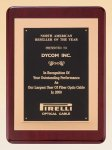 Rosewood Piano Finish Plaque with Gold Embossed Frame Achievement Award Trophies