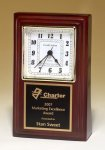 Desk Clock with Rosewood Finish Achievement Award Trophies