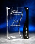 Wave Cutout Clear and Black Acrylic Award Achievement Award Trophies