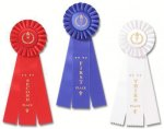 Classic Three Streamer Rosette Award Ribbon Baseball Trophy Awards