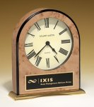 Large Desk Clock with Burl-finish Case Boss Gift Awards
