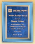 Blue Mirror Glass Plaque with Brass Plate Employee Awards