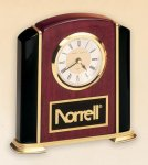 Rosewood and Black Stained Piano Finish Desk Clock Employee Awards