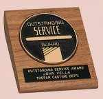 American Walnut Desk Wedge with Medallion Executive Gift Awards
