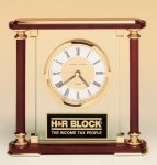Desk Clock with Brass and Cherry Wood Finished Accents Executive Gift Awards