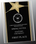 Black/Gold Standing Star Acrylic Recognition Plaque Patriotic Awards
