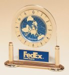 World Time Clock on Gold-plated Solid Brass Base. Patriotic Awards