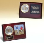 Rosewood Piano Finish Desk Clock with 3 X 3 Photo Area Religious Awards