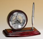 Piano-Finish Clock and Pen Set Secretary Gift Awards