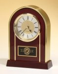 Arched Gold Aluminum and Rosewood Piano Finish Clock Secretary Gift Awards