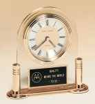 Arched Acrylic Clock on a Gold-plated Brass Base Secretary Gift Awards